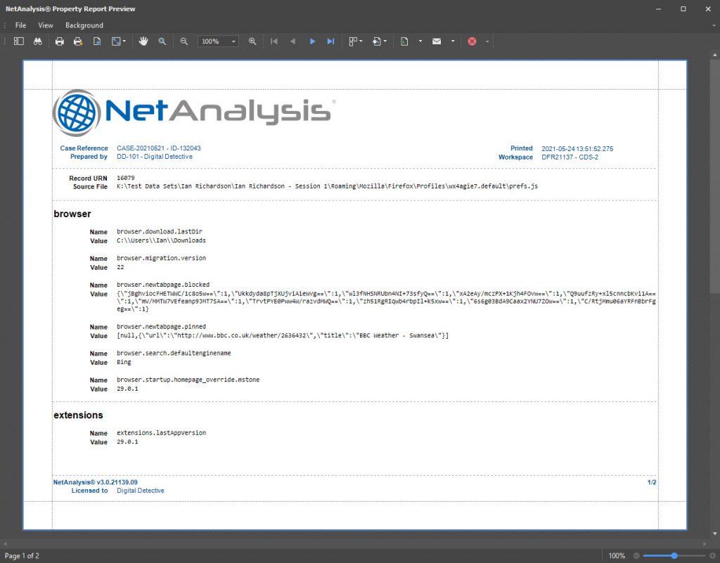 NetAnalysis Properties Report